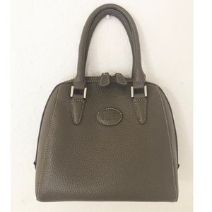 Stone Taupe Pebble Grain Double Zipper Satchel